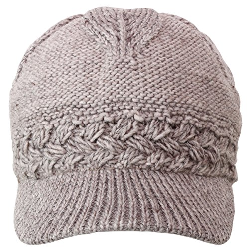 Women's Chunky Knitted Metallic Thread Double Layer Visor Beanie Hats (SOLID, BEIGE)