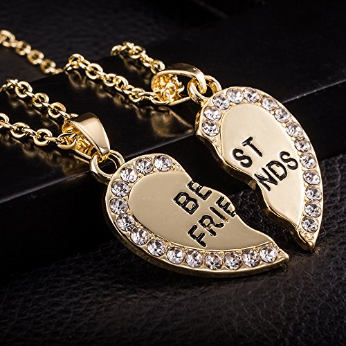 BBF Necklace,Haluoo Best Friends 2 Pcs Necklaces 925 Sterling Silver Reinestone Necklace Gold Friendship Heart Pendant Necklace Jewelry Gifts for Birthday Thanksgiving Christmas Graduation (Gold)