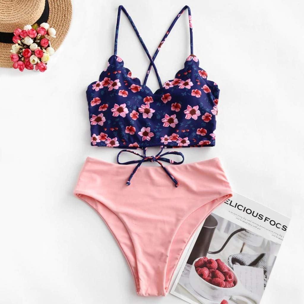 Scalloped Trim Bikini Print Bikini Tie Back Lace Up Ruched Tankini Set Fanteecy Womens High Waisted Bikini Set Swimwear