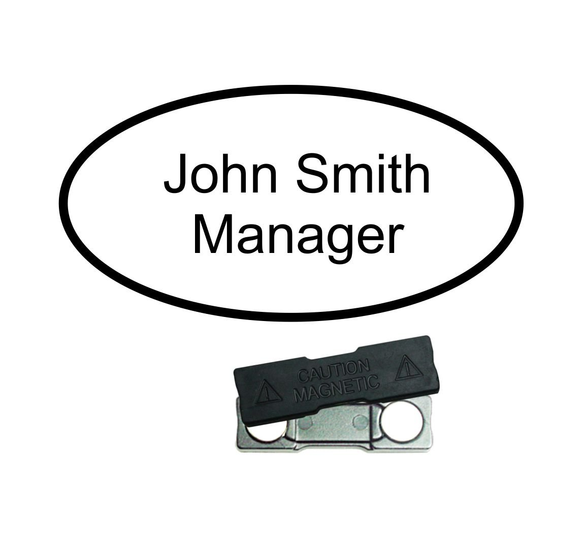 trophy deluxe personalised oval white name badge with black text