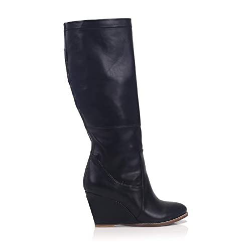 1bba652ed Image Unavailable. Image not available for. Color: 100% Italıan Calf  Leather Women's Black Wedge Heeled Boot