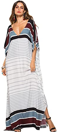 87554101c48 Half Sleeve Batwing Dolman Sleeve Deep V Neck Striped Stripe Long Maxi  Straight Swing Trapeze Dress White Black at Amazon Women s Clothing store