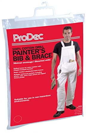 e6254468e1a ProDec Painters Decorators 100% Cotton White Work Bib And Brace Overalls  Coveralls With Quilted Knee And Kneepad Pockets  Amazon.co.uk  Clothing