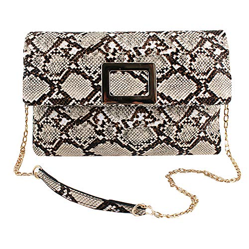 Goodbag Boutique Lady Retro Fashion PU Handbag Faux Snakeskin Envelop Clutch Chain Shoulder Crossbody Bag Wristlet Strap(03868Snakeskin pattern)