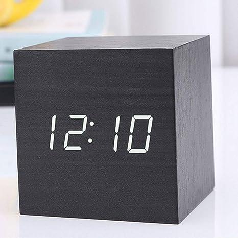 Teabelle Reloj Digital Despertador de Madera en Forma de Cubo Modelo 2018 Alarma LED pantalla Función ...