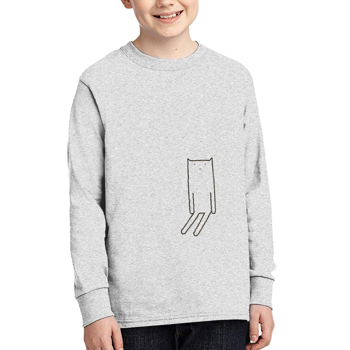 MARRITI Stick Figure Cat Junior Long Sleeve T-Shirt Funny Boys Long Sleeve Round Neck Graphic Tees Black