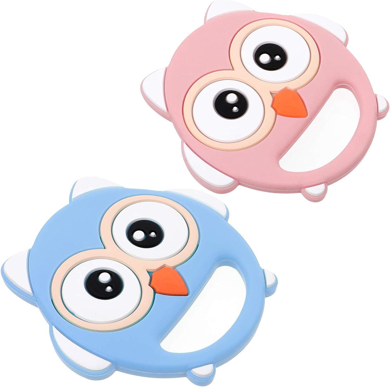 TOYANDONA 2 Unids Silicona Bebé Mordedor Animal Búho Bebé Dentición Juguete Niños Masticar Juguete para Bebé Niño Pequeño Rosa Azul
