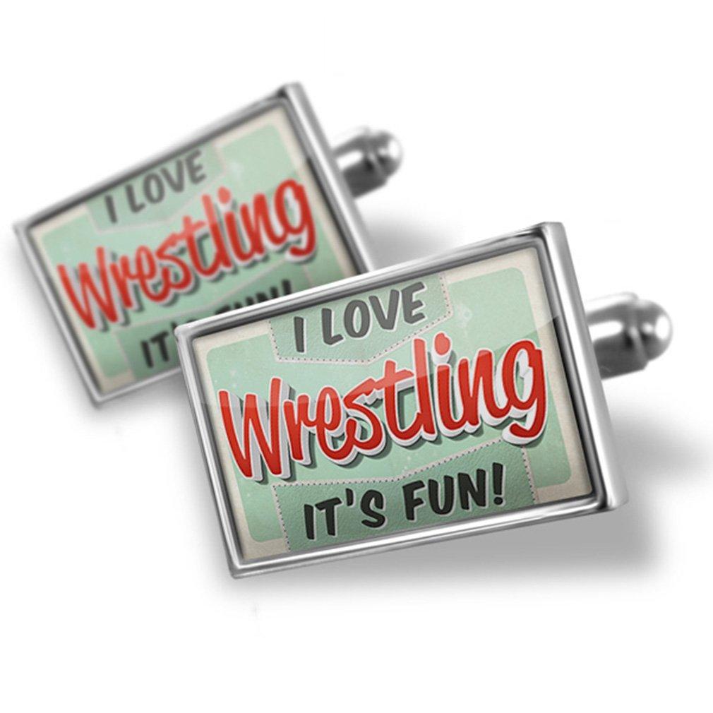 Cufflinks I Love Wrestling, Vintage design - Neonblond
