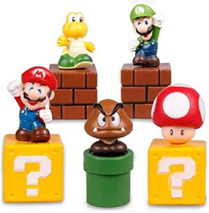 "Mario Goomba PVC Action Figure Plastic Toy 5/"" 2X Super Mario Bros"