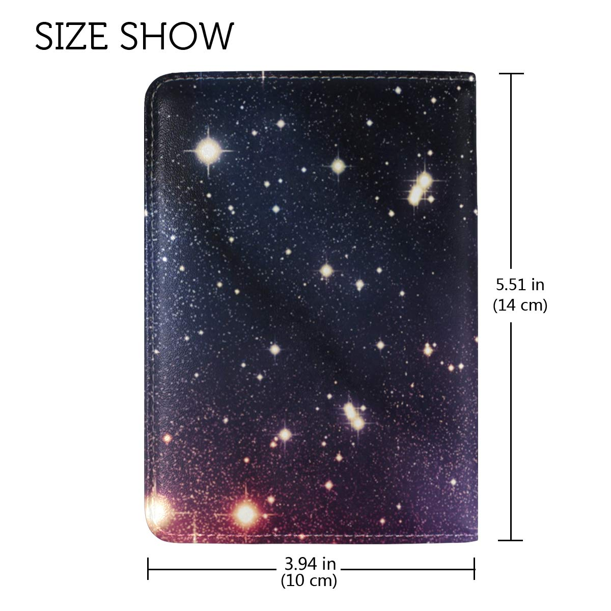 Starry Night Sky Colorful Universe One Pocket Leather Passport Holder Cover Case Protector for Men Women Travel by NOAON (Image #3)