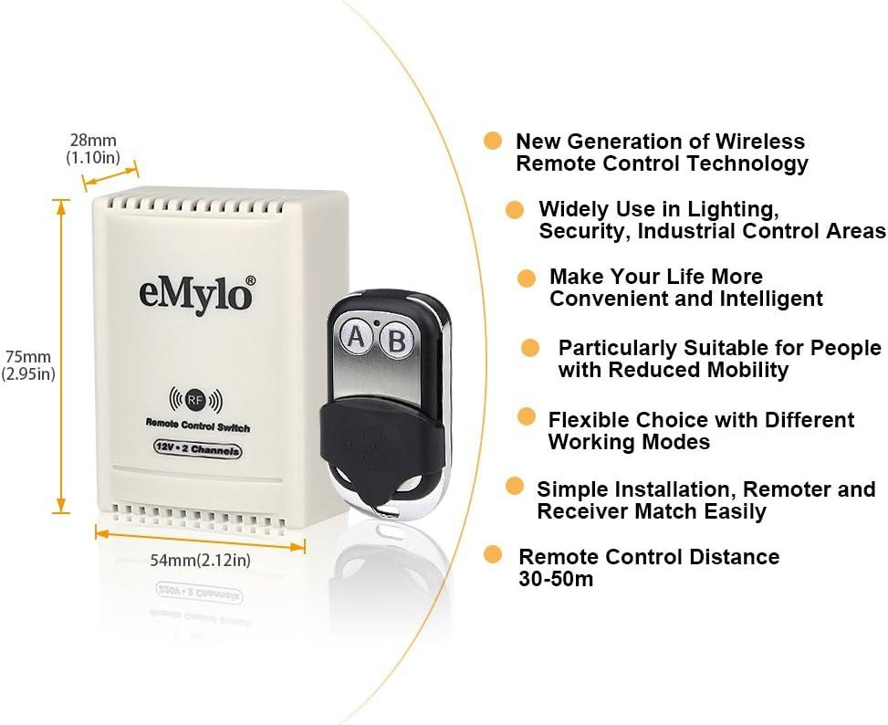 eMylo DC 12V 2CH 433Mhz RF Rel/é inal/ámbrico interruptor de Control remoto Rel/é Luz Interruptor moment/áneo Transmisor con receptor