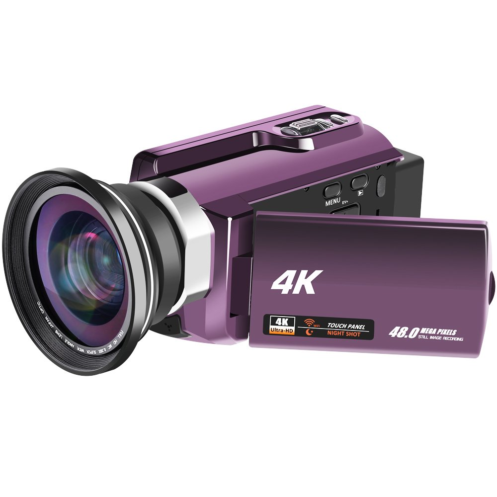 4K Video Camera 48MP 60fps WiFi Video Camcorder Ultra HD Digital Camera Camcorders with IR Night Vision and External Wide Angle Lens by RAINBOWDAY