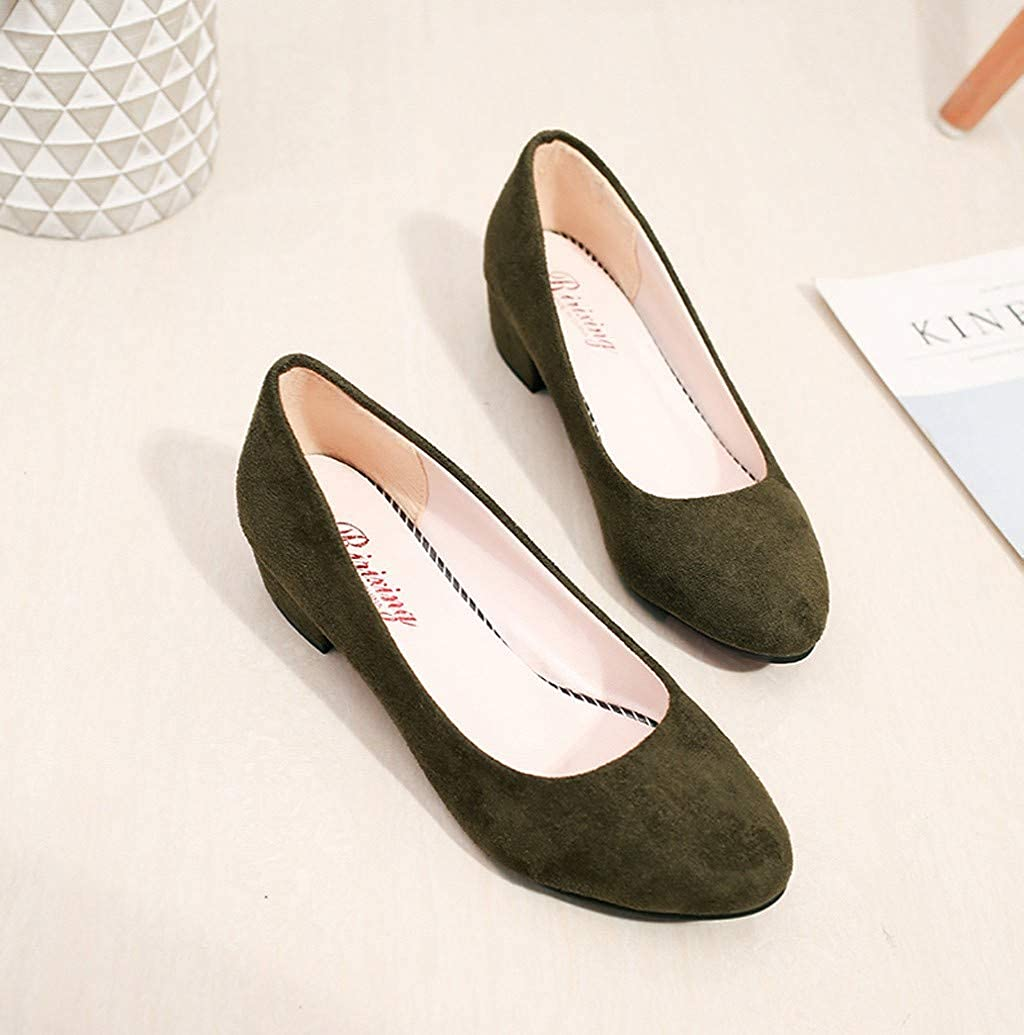 Womens Classic Low Heels Dress Pumps Round Toe Faux Suede Office Work Wedding Shoes by Nevera
