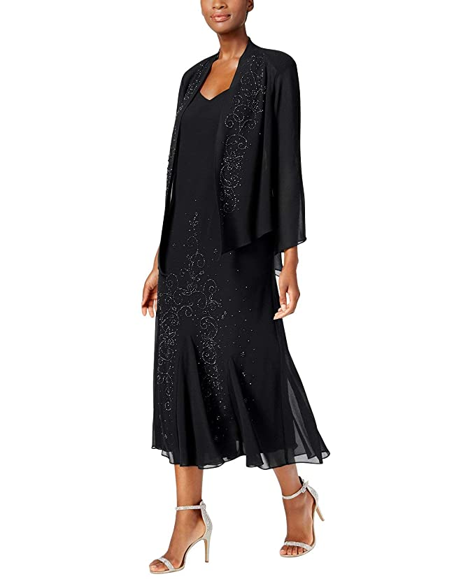 Black Flapper Dresses, 1920s Black Dresses R&M Richards Womens Beaded Chiffon Jacket Dress $180.92 AT vintagedancer.com