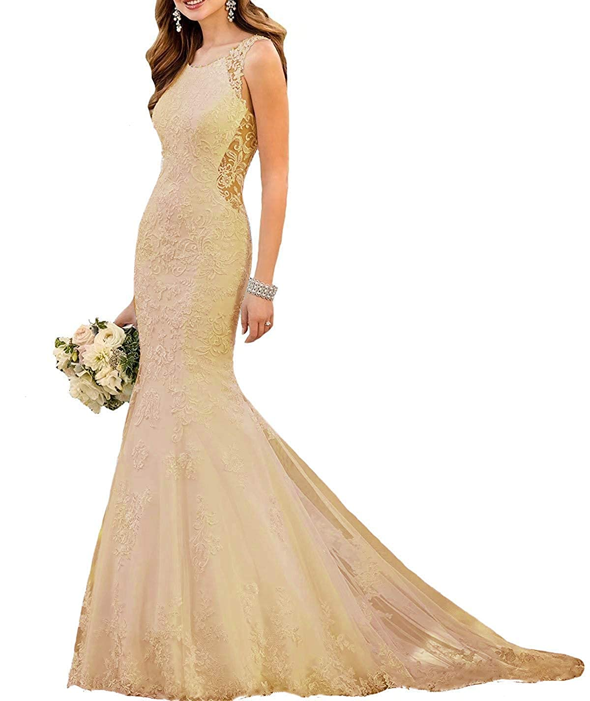 Champagne Staypretty Wedding Dresses Mermaid Applique Tulle Scoop Neck Sleeveless Bridal Gowns