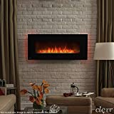 Clevr 750-1500W 39'' Adjustable Electric Wall Mount Fireplace Heater, Adjustable Front Colors and Back light Color, Decorative Crystals, CSA and UL Certified