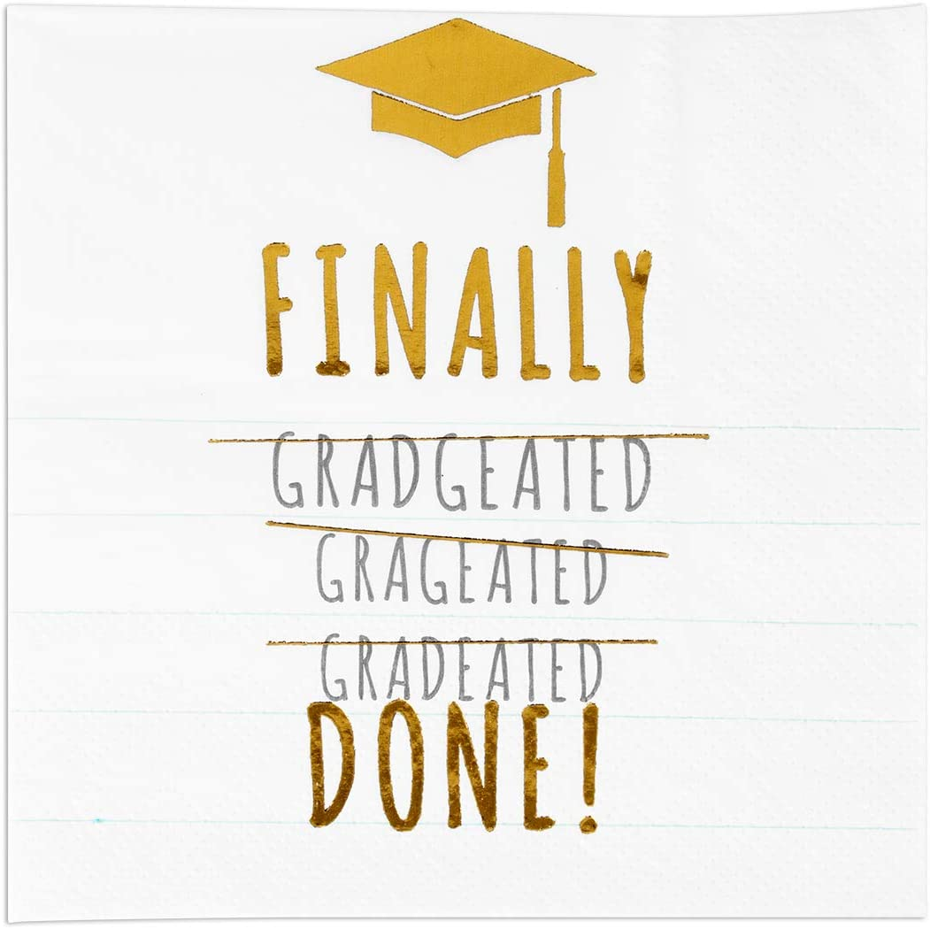 Andaz Press Foil Finally Done Graduation Saying Cocktail Napkins, 5-Inch Bulk 50-Pack Count 3-Ply Disposable Fun Beverage Napkins for Graduation Party (Gold)