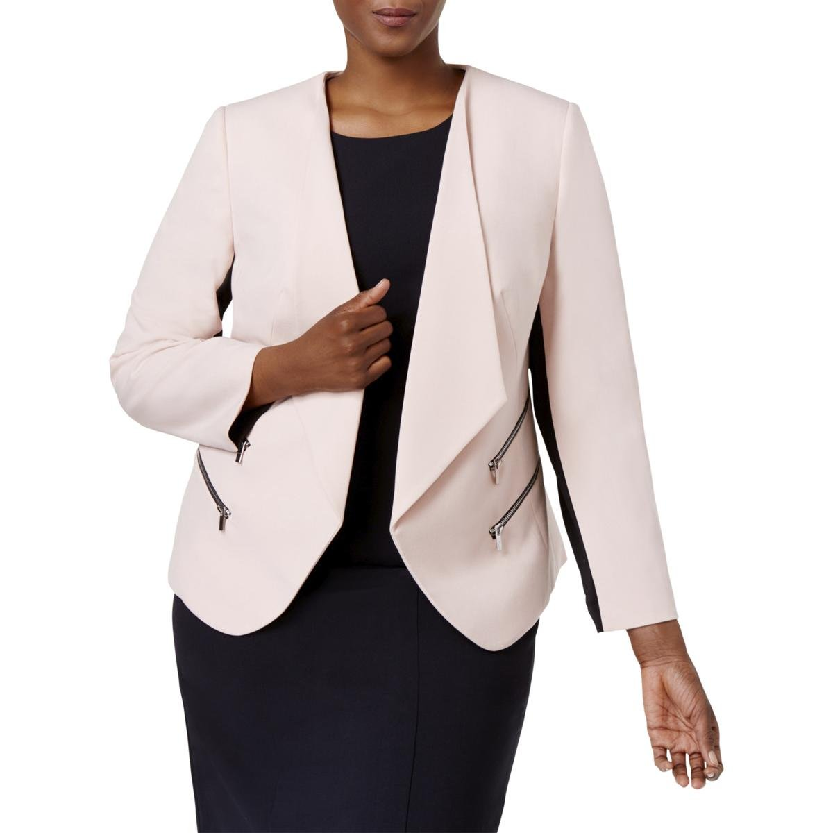 Nine West Womens Plus Colorblock Zip-Pockets Blazer Pink 22W
