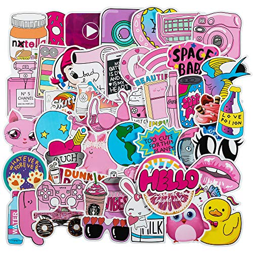 Cute Laptop Stickers for Girls[50PCS] - Cartoon Stickers for Laptop Guitar Notebook PC Computer Luggage Room Skateboard Bike Phone Table Wall Vinyl Cool Graffiti Decals - Best Gift for Kids - Girls With Cute