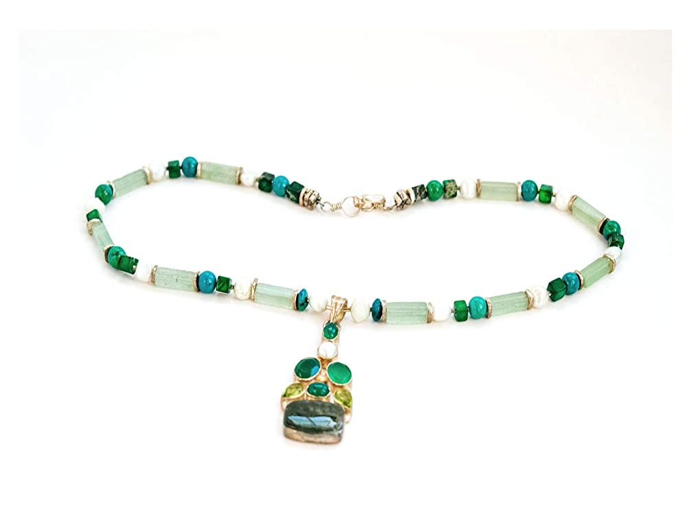 jade Amazonite succulent necklace Petrified Wood Malachite Moss Agate necklace with Sterling silver