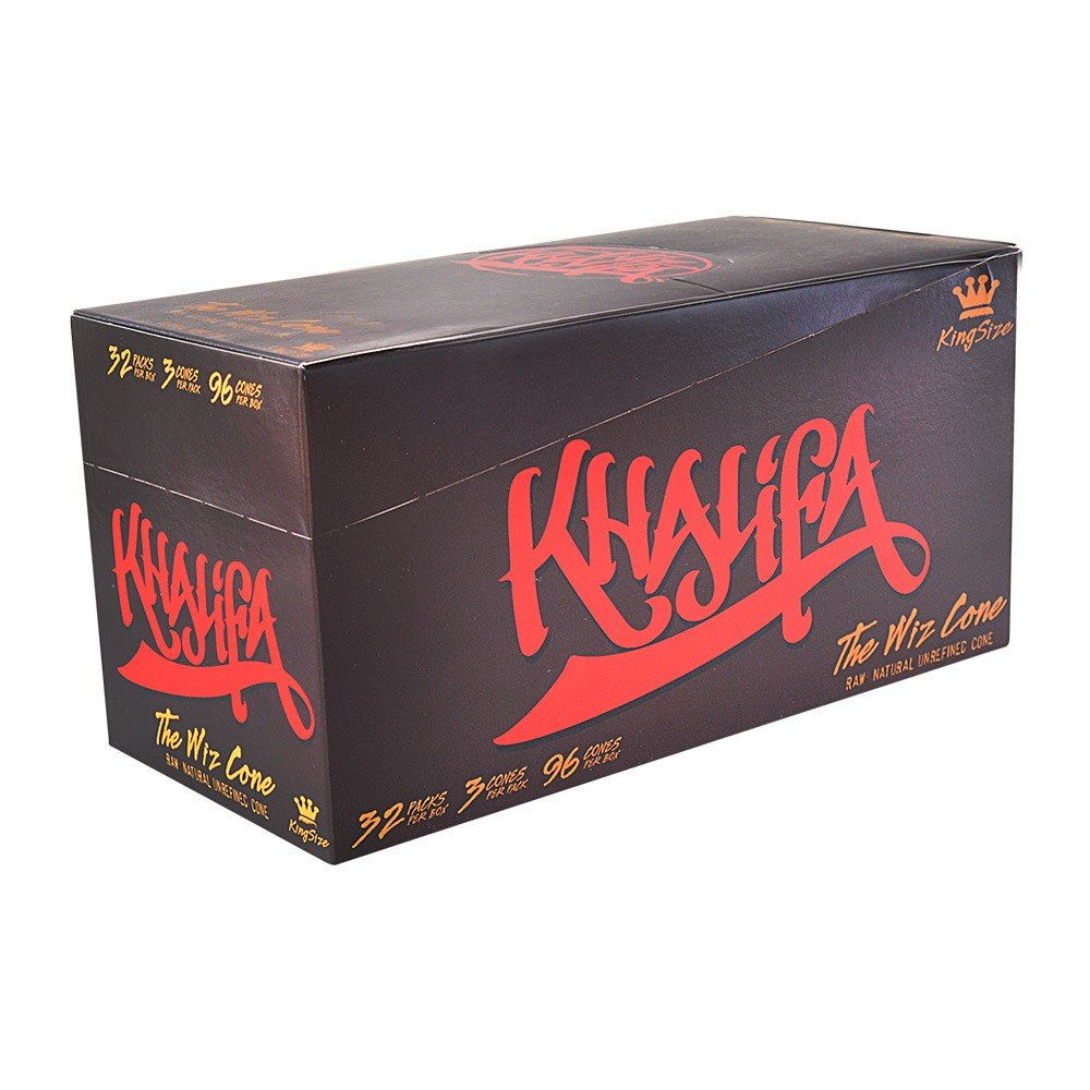 96 Wiz Raw Cones (FULL CASE), Wiz Khalifa Raw Natural Unrefined Cones Rolling Paper KING Size, 32 Packs of 3 Cones + Beamer Smoke Limited Edition Sticker