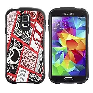 LASTONE PHONE CASE / Suave Silicona Caso Carcasa de Caucho Funda para Samsung Galaxy S5 SM-G900 / Letters Calligraphy Red Patter Checkered