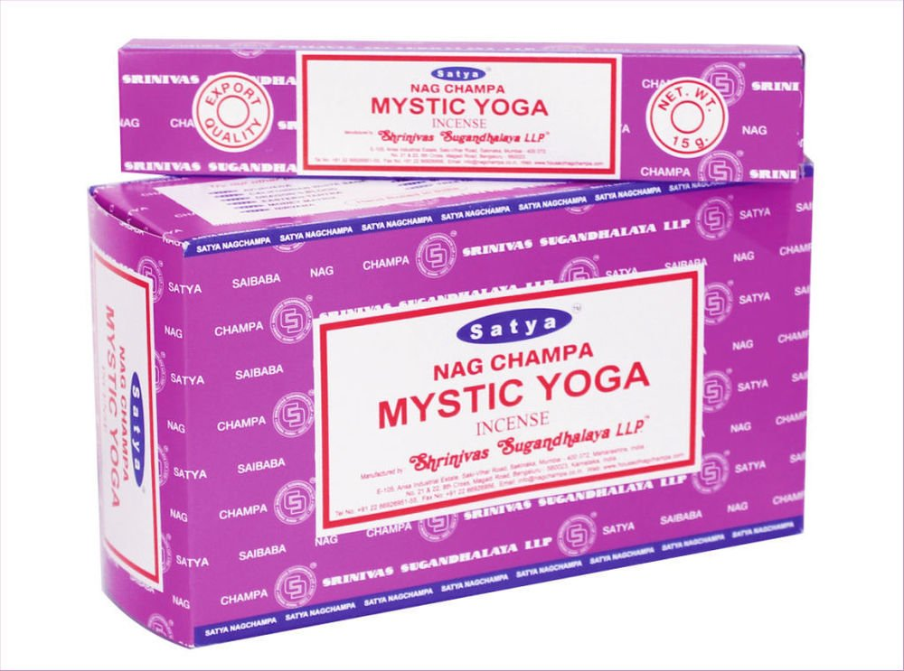 Satya Nag Champa Mystic Yoga Incense Sticks | Signature Fragrance | Net Wt: 15g x 12 boxes = 180g | Exclusively Made in India | Export Quality | Handrolled Non-Toxic Incense