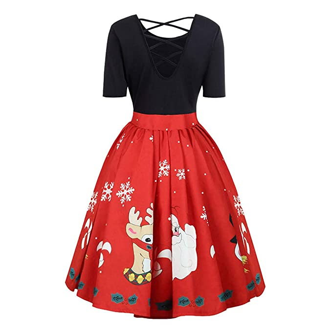 detailed look 4a4a6 9a685 Vestito di Natale Donna Santa Natale Vintage Vestito Maniche ...