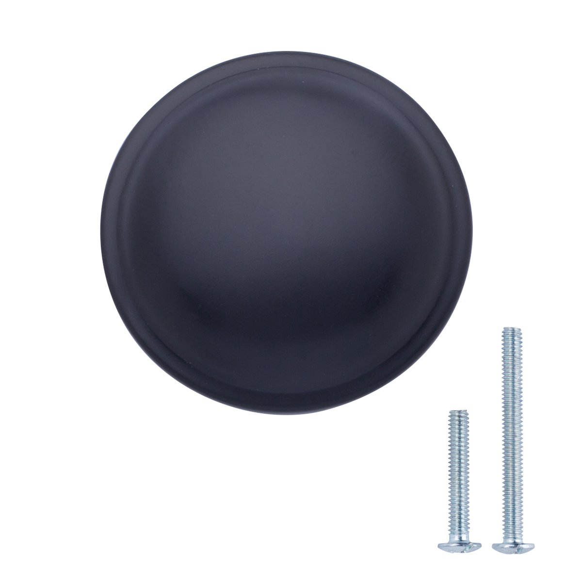 "AmazonBasics (AB300-FB-25) Mushroom Cabinet Knob, 1.19"" Diameter, Flat Black, 25-Pack"