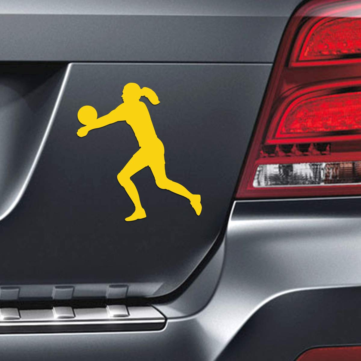 Volleyball Player Female Car Magnet Black