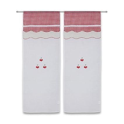 Frenessa Juego de Cortinas de Cocina Puerta con Diseño de Cereza, Visillos Bordadas con Trabillas
