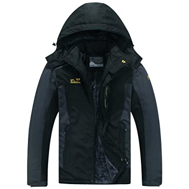 Men s Mountain Waterproof Ski Jacket Windproof Rain Jacket  9931-Black ffb7eda69