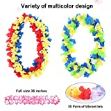 WEfun 36 Pack Hawaiian Leis Party Supplies with Multicolor Design for Theme Party Event Decorations