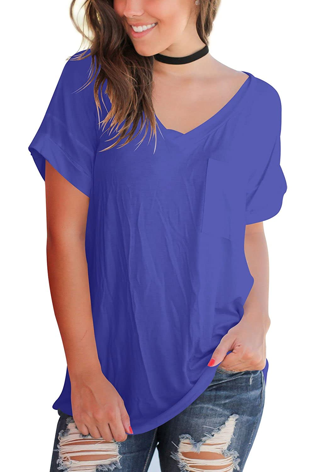 FAVALIVE Women's Short Sleeve Tops Casual V-Neck T-Shirts with Front Pocket