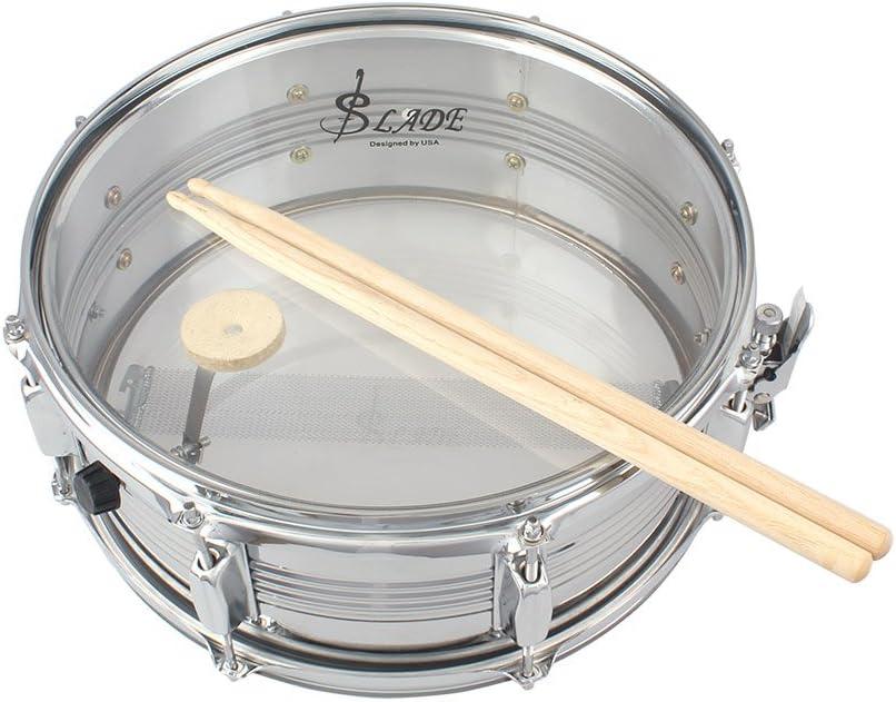 Ammoon 14 en Snare Drum tambor de acero inoxidable cuerpo ...