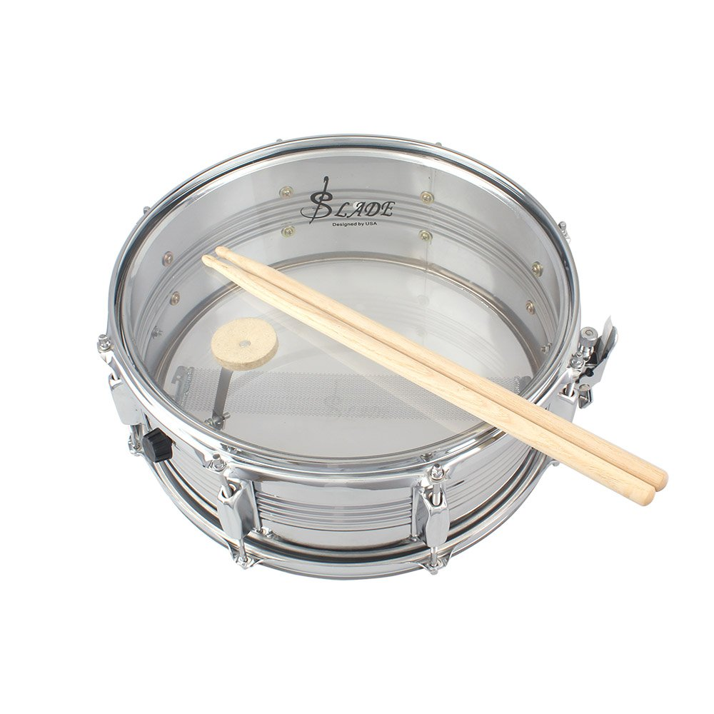 14in Snare Drum Stainless Steel Drum Body Transparent PVC Drumhead with Case Sticks Gloves Shoulder Strap for Student Professional Drummer by Godyluck