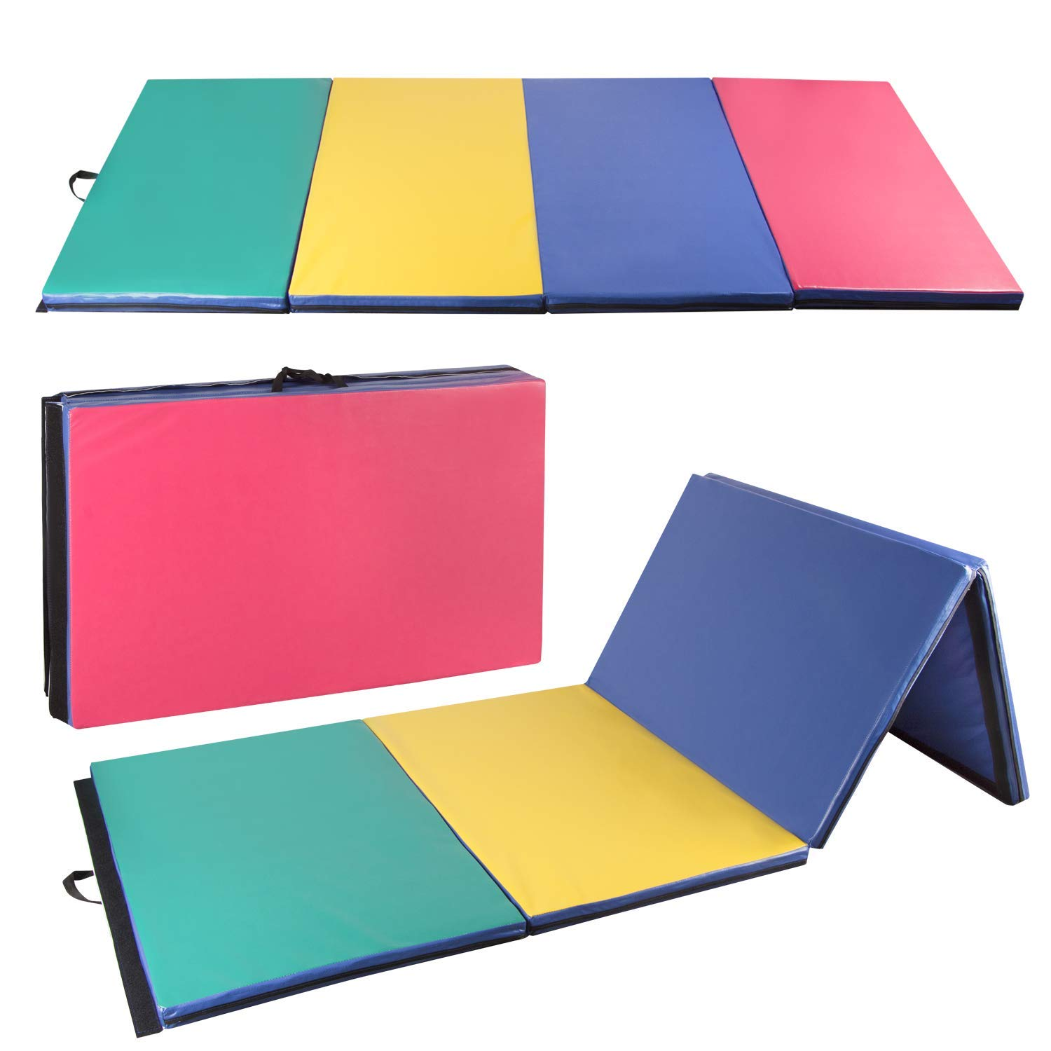 CharaVector 4' x 10' x 2'' Folding Thick Gymnastics Mat Waterproof Gym Exercise Tumbling Yoga Pilates Aerobics MMA Martial Arts, with Hook & Loop Fasteners Multicolour