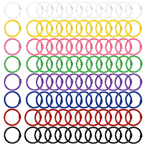 BTSKY 8 Colors 96Pcs Colored Book Loose Leaf Binder Rings- 30mm Metal Loose Paper Notebook Rings Keychain Key Rings for Cards, Document Stack and Swatches Organization School Home, or Office Use (Binder Rings Colored)