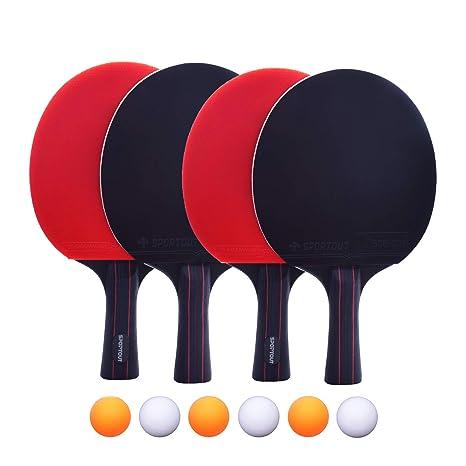 Easy-Room 4 - Raqueta de Tenis de Mesa y 6 Pelotas de Tenis de ...