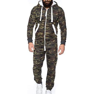 Cooljun Herren Unisex Jumpsuit Einteiliges Kleidungsstück Non Footed Pyjama  Playsuit Bluse One Zip Onesie Hoodie Overall 9cc30b454f