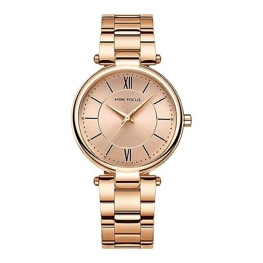 Relojes Pulsera Escala de la Tira Escala del Numeral Romano Relojes Mujer Pulsera de Acero Inoxidable Elegant, Oro Rosa: Amazon.es: Relojes