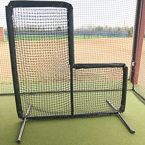 GAMERS SPORTS GROUP BASEBALL PADDED 7'x7' L SCREEN 2'' OD 14 GAUGE STEEL WITH 60 GAUGE HDPE NETTING by GAMERS SPORTS GROUP