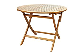 Holztisch Rund Garten.Amazon De Xxs Akazie Holz Gartentisch Ca 100 Cm Rund