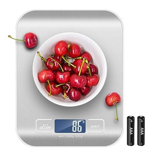 Newdora Báscula Digital para Cocina de Acero Inoxidable con Pantalla LCD Balanza de Alimentos con función de tara sistema de sensor de alta precisión escala digital Color Plata Baterías Incluidas