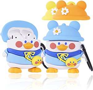 Cute Airpods Case Cover with Keychain, pordsioc Silicone 3D Cartoon Airpods Case with 3 Hat for AirPods 1 & 2