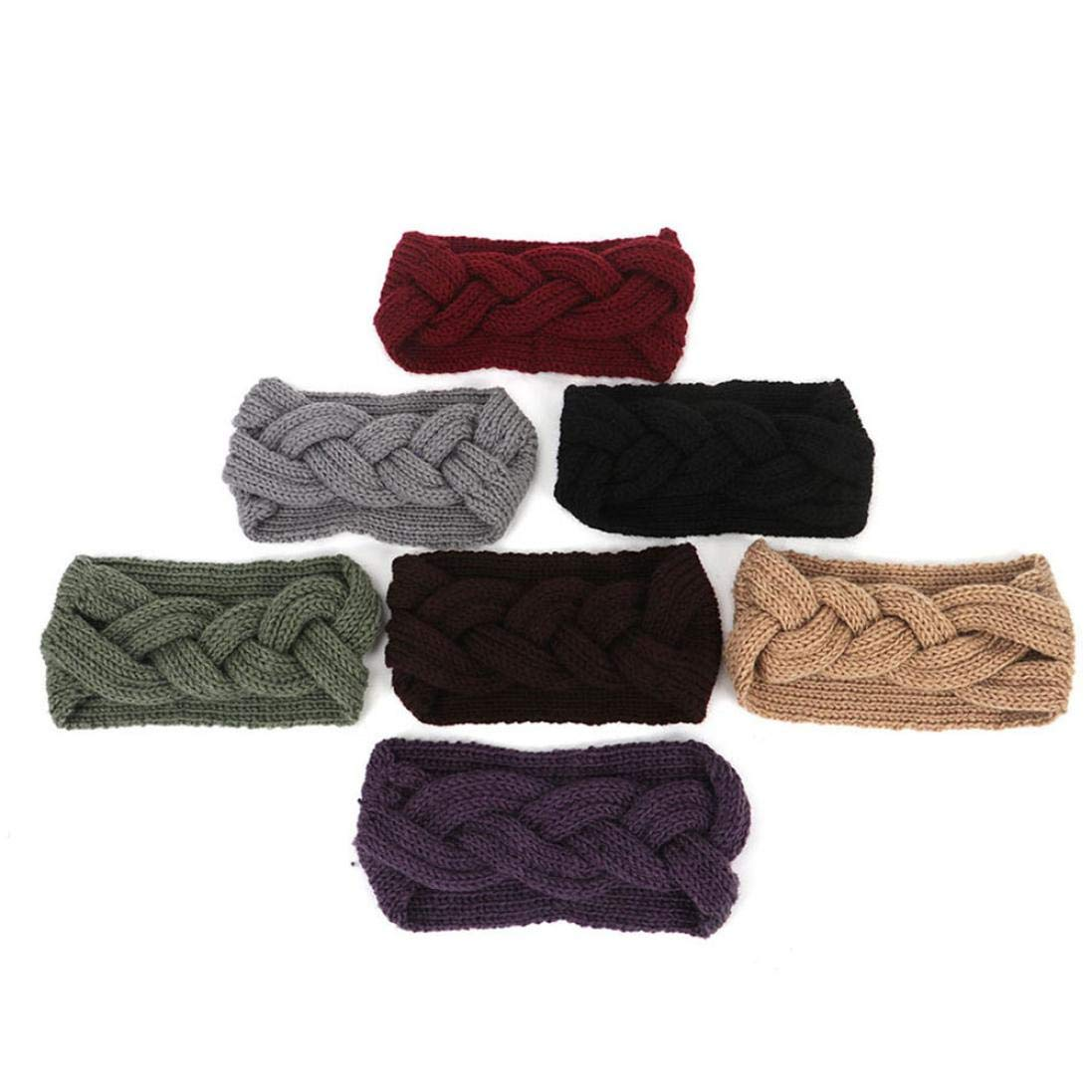 Appoi Headband Headwrap Women Wool Knotted Knitted Headbands Solid Color Elastic Stretchable Winter Warm Head Wrap Wide Non Slip Fashion Hair Accessories (Red) by Appoi Headband Headwrap (Image #4)