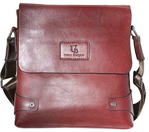 Mens Genuine Leather Bag Messenger Bag For Man Crossbody Bag (Dark Mahogany)