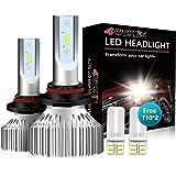 4WDKING 9006 LED Headlight Bulbs - Fanless Super Bright Low Beam Fog Light 60W 8000LM 6500K Cool White High Beam HB4 Conversi