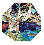 REALBRELLA ART Designer Umbrella, Compact Waterproof, Windproof, Anti-UV Fiberglass Travel Umbrella Rain/Sun Umbrella with Flashlight Handle