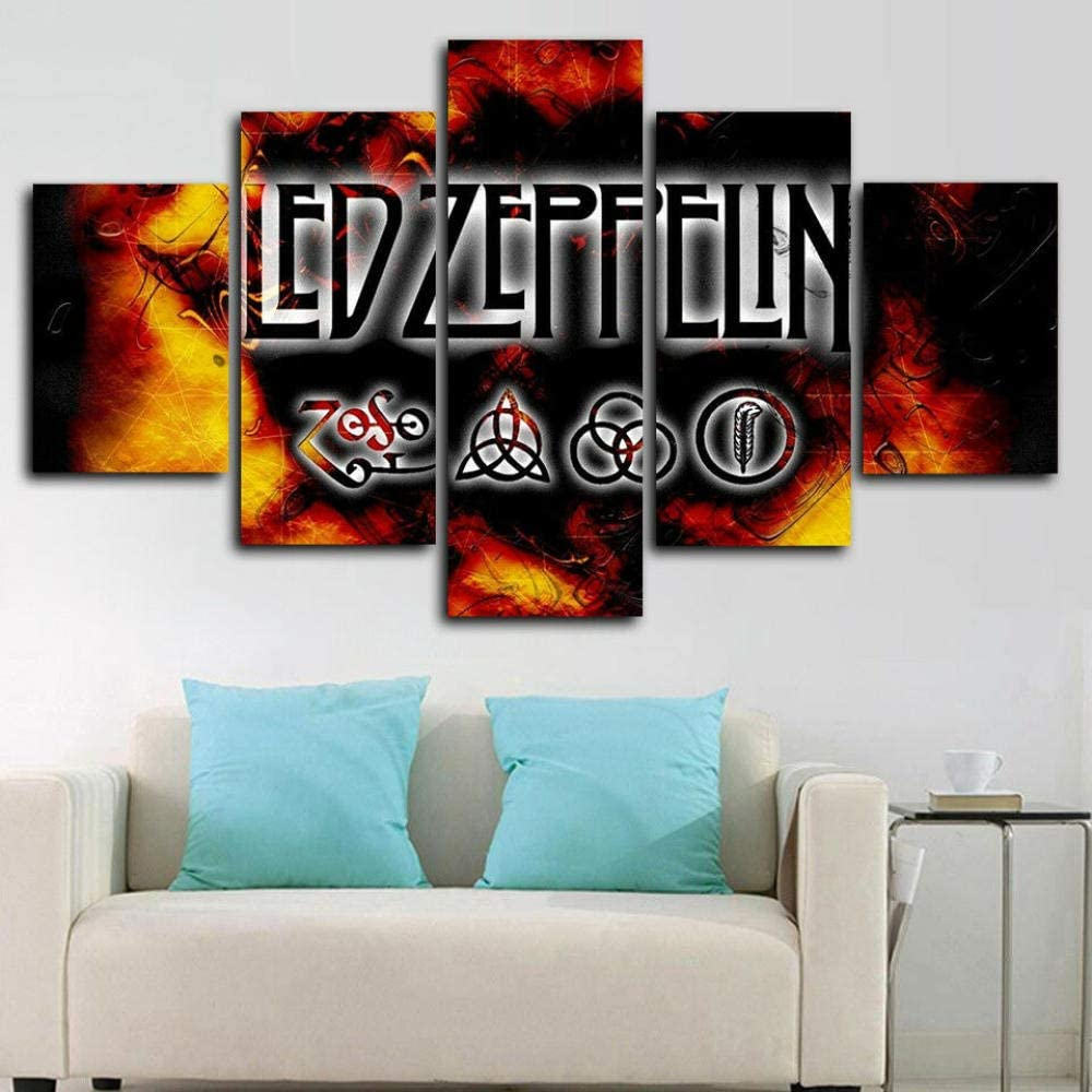 YDME Fall Decor for Home Decorations Hd Printed Canvas Painting Modern Wall Art Decor 5 Pieces Indoor Decorations Led Zeppelin -100X55cm